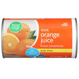 100% Orange Juice, Frozen Concentrate, Pulp Free