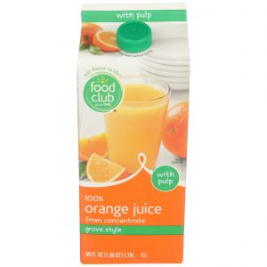 100% Orange Juice, Grove Style, With Pulp