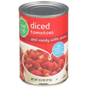 Diced Tomatoes,  Chili Ready With Onions