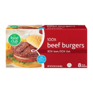 100% Beef Burgers - 80% lean, 20% fat