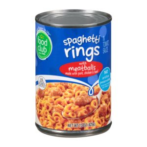 Spaghetti Rings In Tomato Sauce With Meatballs