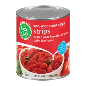 Strips Peeled Pear Tomatoes In Puree With Leaf Basil, San Marzano Style