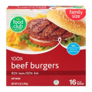 100% Beef Burgers - 80% Lean/20% Fat